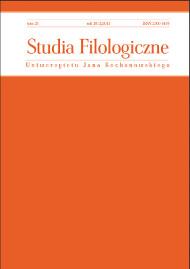 Zdjęcie okładki czasopisma pt. Studia Filologiczne UJK