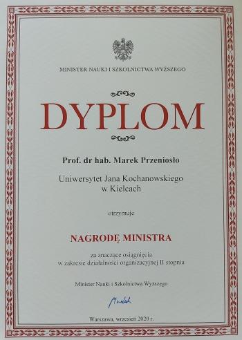 Zdjęcie Dyplomu Prof. Marka Przeniosło