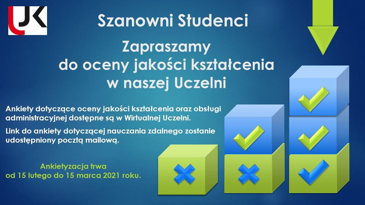 Zaproszenie do oceny jakości kształcenia