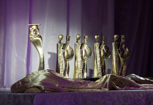 Widok na zeszłoroczne nagrody - statuetki